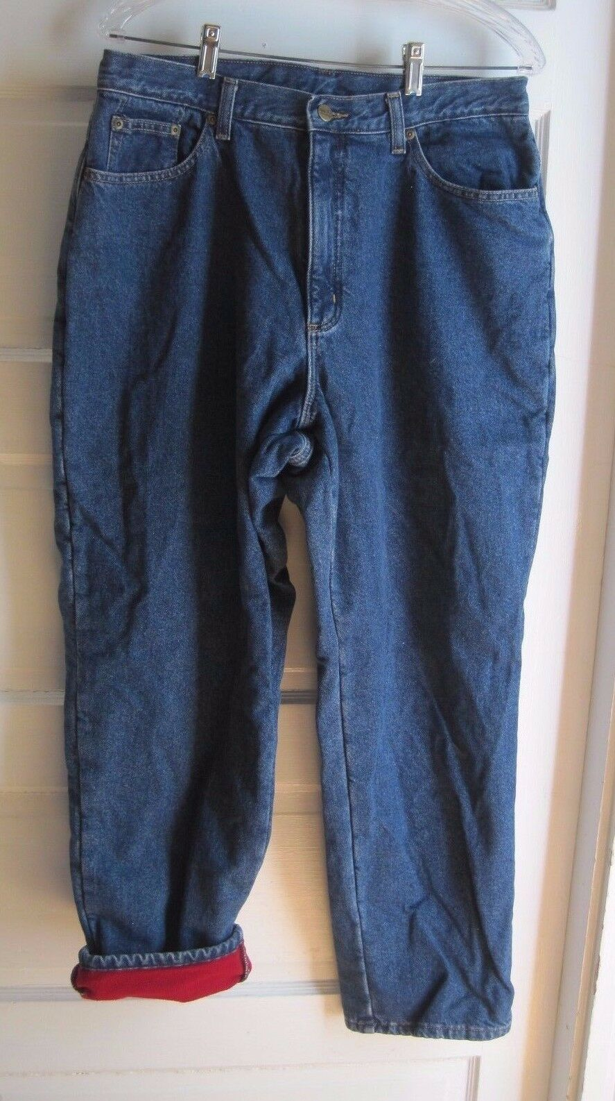 LL Bean Double L Relaxed Fit Red Fleece Lined Denim bluee Jeans womens size 16 R