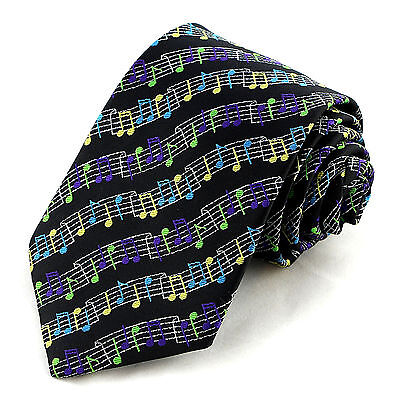Colorful Notes Men/'s Necktie Music Musician Teacher Gift Dress Black Neck Tie