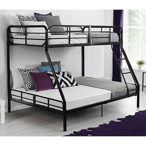 Twin-Over-Full-Metal-Bunk-Bed-w-Ladder-Kids-Bedroom-Furniture-Dorm-Loft
