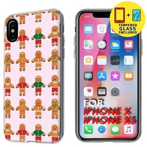 Slim-Gel-Phone-Case-Cover-Apple-iPhone-XS-Gingerbread-Man-Print-Tempered-Glass