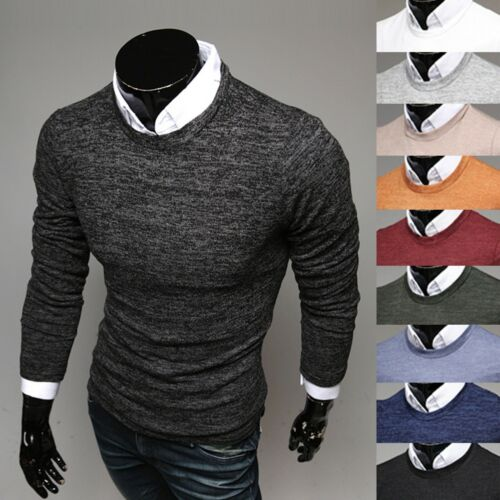 New Mens Dandy See Through Slim Round Neck Crewneck Knit Sweater Jumper Top S//M