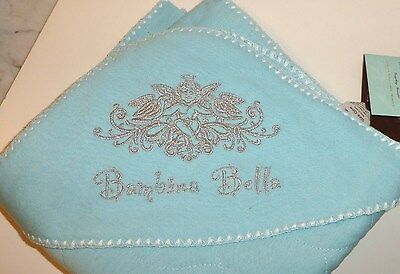 "Expressive Hooded Baby Blanket,eco-friendly Fiber Blend,34""x34"",lt. Aqua, Silver Embroidery"