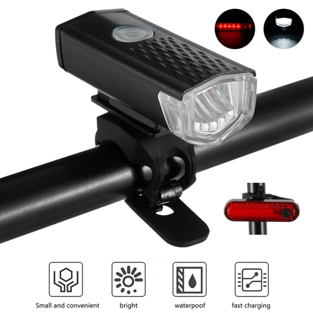 Rechargeable Bike Bicycle Headlight Rear Taillight Set Usb