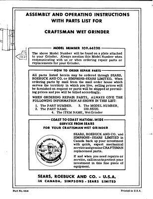 C 1959 Craftsman 109 66220 Wet Grinder Driver Roller