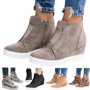 Womens-Leopard-Hidden-Wedge-Heels-Sneakers-Trainers-Casual-Zip-Ankle-Boots-Shoes