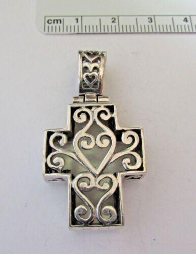 Sterling Silver 3D 10gram 42x20mm Reversible White Mother of Pearl Cross Pendant