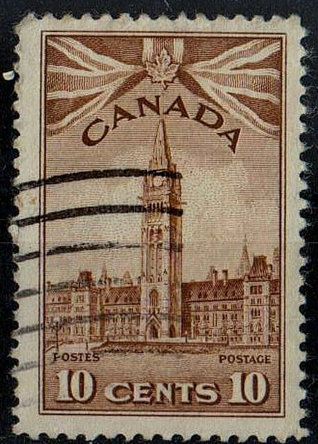 CANADA 1942 Parliament Buildings King George VI SC #257 10 cents STAMP