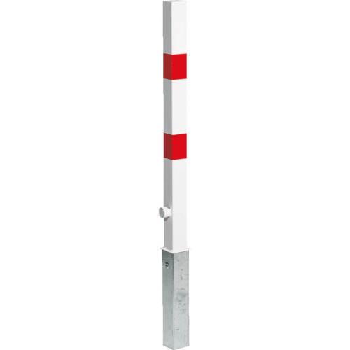 7 x 7 cm Absperrpfosten Einbetonieren Dreikantschloss rot//weiß Sperrpfosten