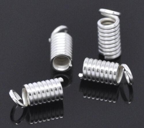 20 embouts de cordon ressort argentés 9 x 4 mm
