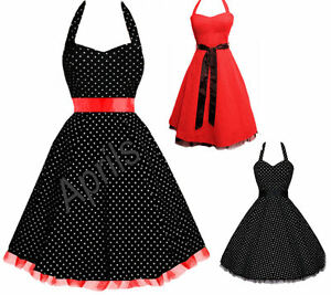 Rockabilly-1950-039-s-Vintage-Pin-Up-Swing-Polka-Dot-Evening-Dress-Sizes-8-22