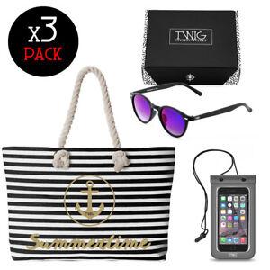 TWIG SUMMER PACK bolsa de playa + gafas de sol + estuche impermeable celular