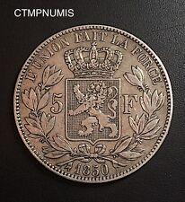 BELGIQUE 5 FRANCS ARGENT LEOPOLD I° TETE NUE  1850