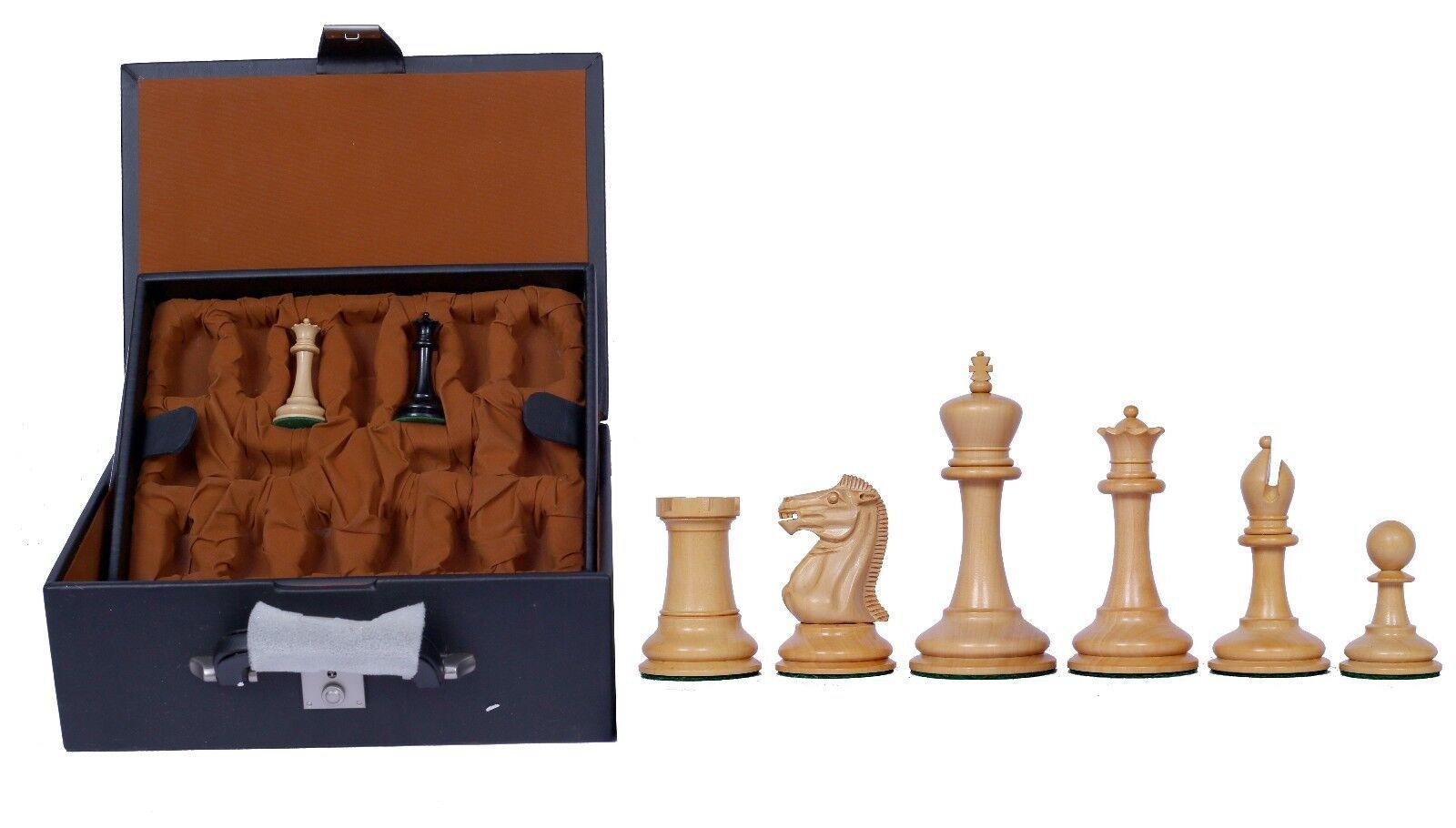 Championship Design Staunton Chessmen 3.5 inch Pure Ebony with Presentation Box