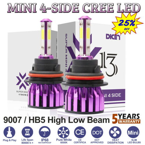 Car LED 9007 HB5 Hi//Lo Headlight Bulbs Conversion Kit 6000K 1800W Super Bright