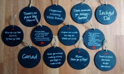 Welsh Slate 10cm Hanging Saying Plaque MAM BACH ANNWYL Mother Mum Welsh Poem