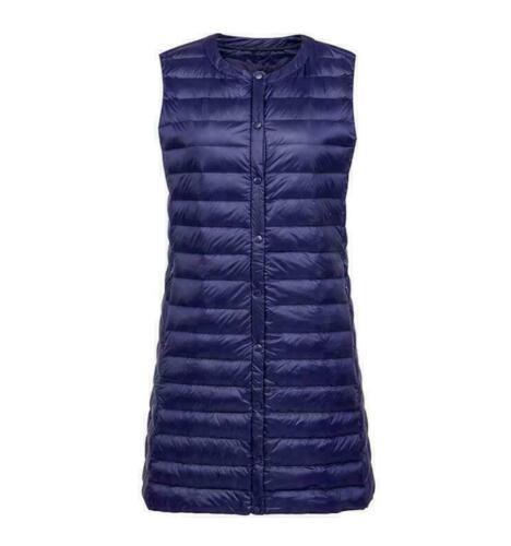 Women Ladies Ultralight Round Collar Waistcoat Down Long Sleeveless Jacket Veset