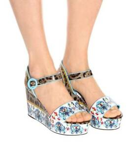 1327f75dc16 New Dolce Gabbana Majolica   Leopard Print Flatform Sandal Women 36 ...