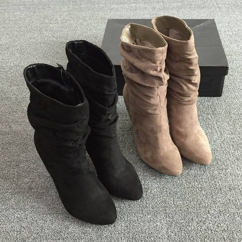 women's ladies high heeled pointy toes Stiletto calf-height mid-boots Size 5-10