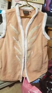 Kunst Fleece Broderet Bob Mackie Slidbar Cream Vest 1x Fur Floral SwwHPRq