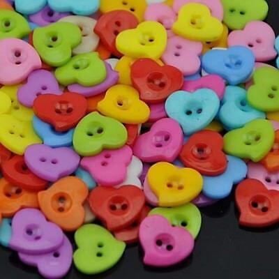 "Craft Scrapbook 14mm Pkg of 20 HEART Plastic Buttons 9//16/"" Mixed Colors 2103"