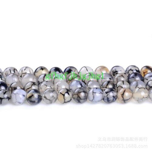 4//6//8//10mm Natural Black Dragon Veins Agate Onyx Round Gems Loose Beads 15/'/'
