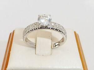 Senoras-925-sterling-solido-de-plata-anillo-de-zafiro-blanco-brillante-corte-Solitaire