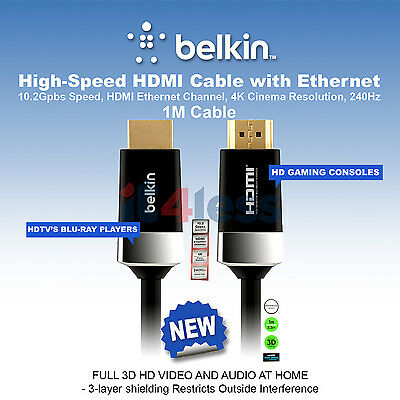 Belkin High speed HDMI Cable with Ethernet 1080P 3D 4K Ultra HD AV10050-1M