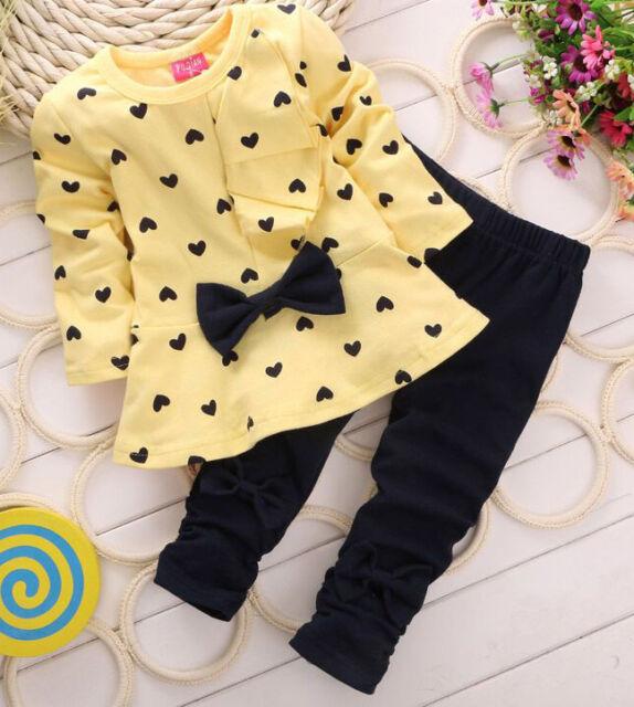 2Pcs Kids Baby Girls Clothing Long Sleeve Bowknot Dress + Pants Set Clothes 1-5Y