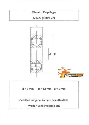 10x roulement à billes 686 zz 6x13x5 mm 628//6 zz Bearing 6 x 13 x 5 mm precision Bearing