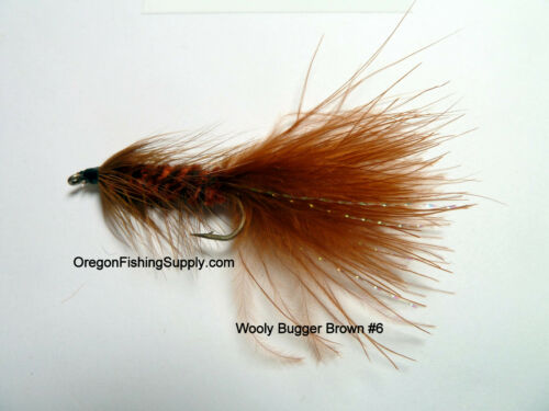 Brown #6 3 Fly Wooly Bugger FREE shipping on All Additional Items!