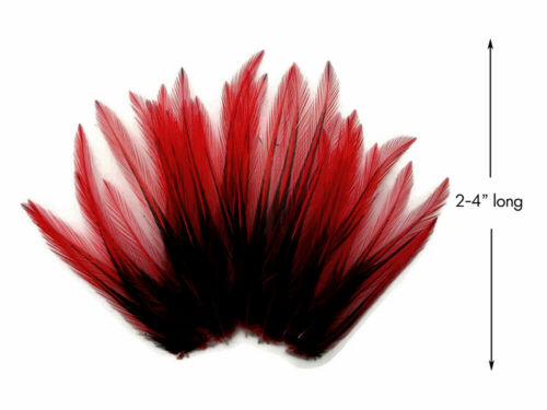 10 Pieces Red Dyed BLW Laced Short Rooster Cape Whiting Farm Feathers Craft