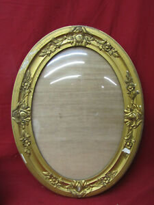 Vintage/Antique Gold Oval Wooden Picture Photo Frame w/Convex Glass