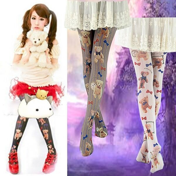 Japanese Girls Little Bear Pantyhose Cute Flower Printed New Tights Socks Kawaii