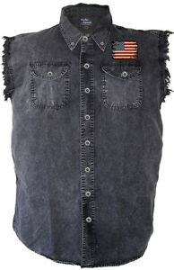 65307b31df Mens Acid Wash Charcoal Denim Sleeveless Biker Shirt W Real American ...