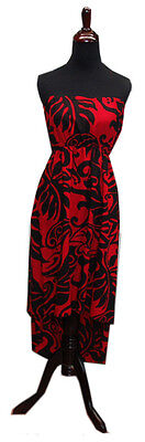 Hawaiian Rayon Black Red Strapless Ladies High Low Midlength Dress-S/M,L/XL