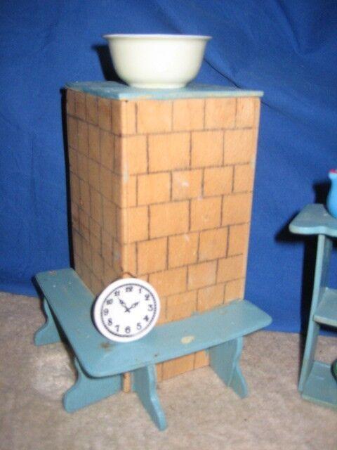 Puppenstube Puppenstube Puppenstube Puppenmöbel Schlafzimmer Küche Kamin Regal Esszimmer 60er 70er Jahre 43b731
