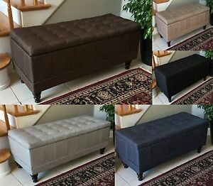 Ottoman Top Storage Bench W Tufted Accents Textured Linen