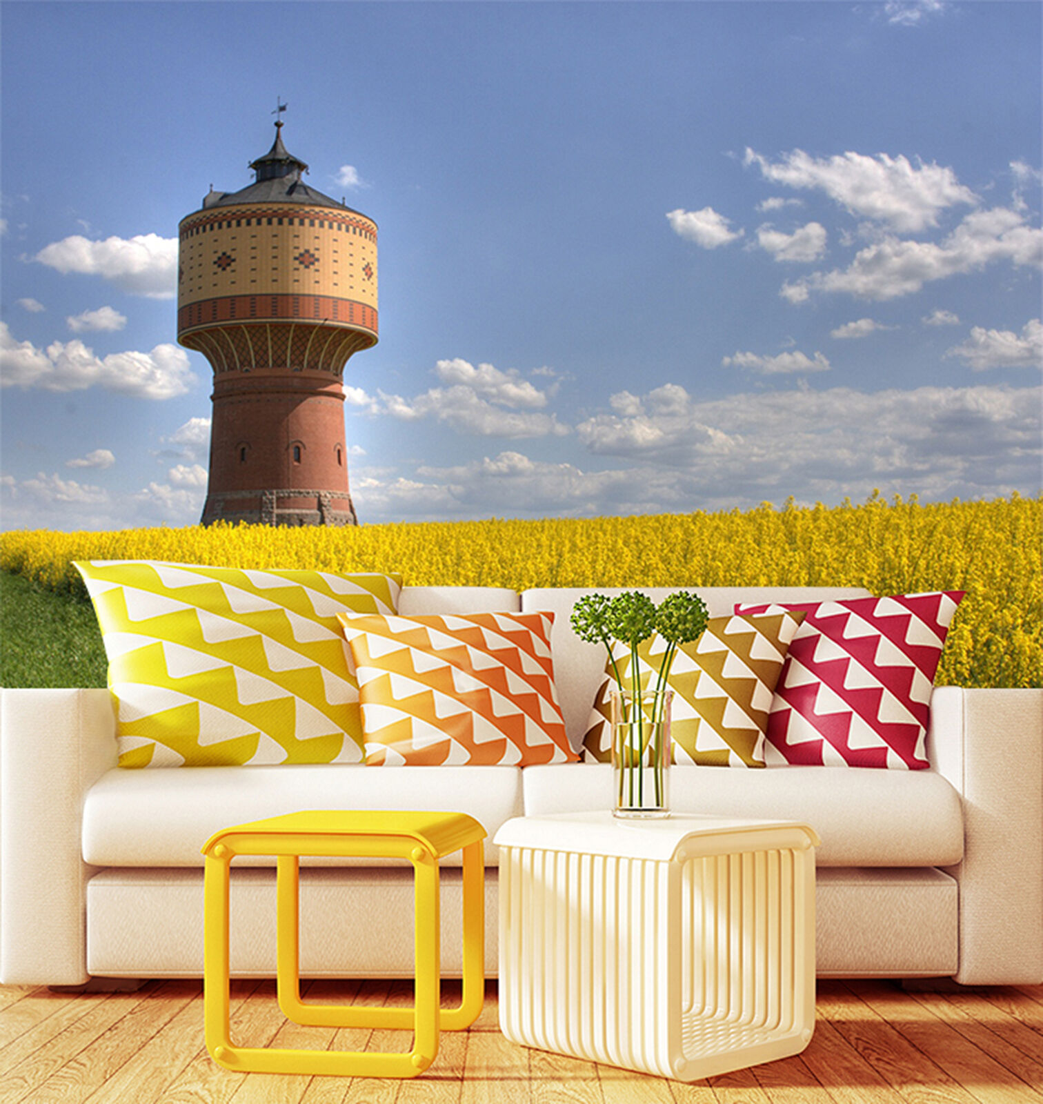 3D Rape field Towers Wall Paper Print Decal Wall Deco Indoor wall Mural