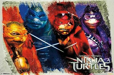 Teenage Mutant Ninja Turtles 2014 Movie Poster Color 22x34 Tmnt Leo Raph Mikey Ebay