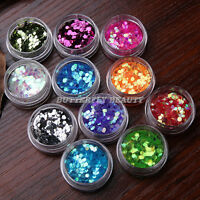 Big Hexagon Glitter Powder For UV Acrylic Nail Art Tips Decoration 12 Colors Set