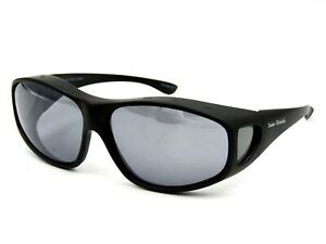 Solar Shield Unisex Fit Overs Large Oval. Matte Black / Polarized Gray #99G
