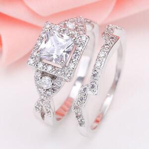 925-Silver-Princess-Cut-White-Sapphire-amp-Topaz-Women-Bridal-Wedding-Ring-Set