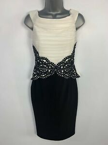 WOMENS-LIPSY-BLACK-amp-WHITE-BODYCON-PARTY-WEDDING-COCKTAIL-STRETCH-DRESS-SIZE-UK-10