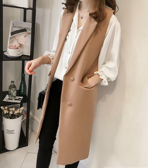 Women Double-breasted Casual Slim Blazer Business Suit Sleeveless Coat Waistcoat