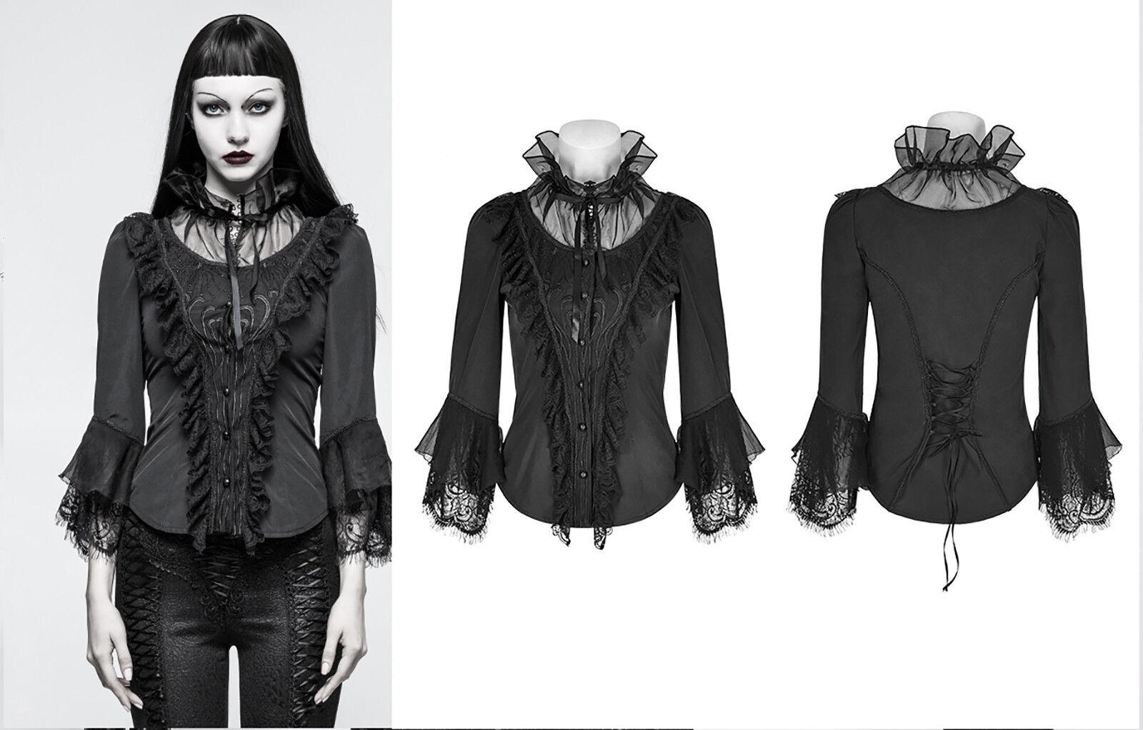 Punk Rave Gothic Lolita Spitze Blause Shirt Victorian Schnürung Steampunk Y-795