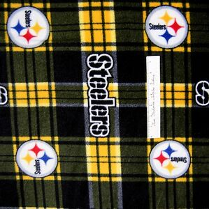 fleece fabric traditions steelers football plaid black gold anti pill 58 yard ebay. Black Bedroom Furniture Sets. Home Design Ideas