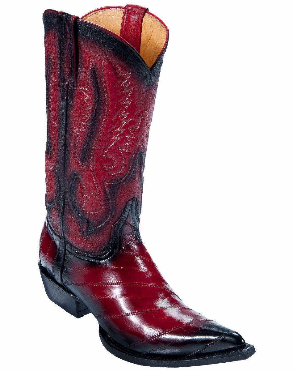 LOS ALTOS MEN FADED RED 3X-TOE GENUINE EEL SKIN WESTERN COWBOY BOOT (D) 95DV0829
