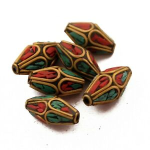 Turquoise-Coral-Brass-6-Beads-Tibetan-Nepalese-Ethnic-Handmade-Nepal-UB61