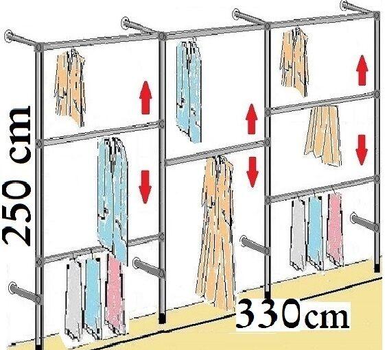 250 cm hoch Wandregal Kleiderstange Keiderregal Wäschekammer Kleiderschrank W.04