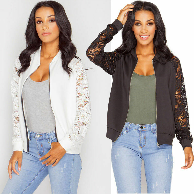 Womens Crop Biker Army Zipper Coat Top Crochet Lace Long Sle